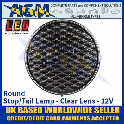 LED Autolamps 82RC Round Stop/Tail Lamp, Clear Lens, 12v