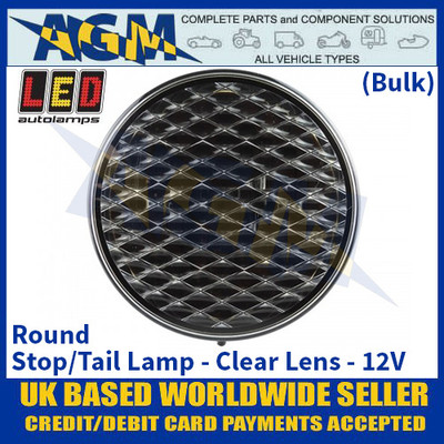 LED Autolamps 82RCB Round Stop/Tail Lamp, Clear Lens, 12v - (Bulk)