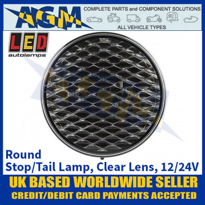 LED Autolamps 82RCM Round Stop/Tail Lamp, Clear Lens, 12/24v