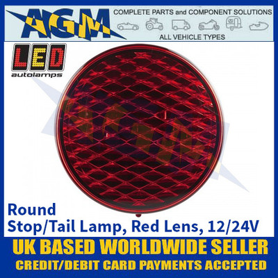 LED Autolamps 82RM Round Stop/Tail Lamp, Red Lens, 12/24v
