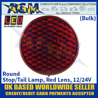 LED Autolamps 82RMB Round Stop/Tail Lamp, Red Lens, 12/24v - (Bulk)