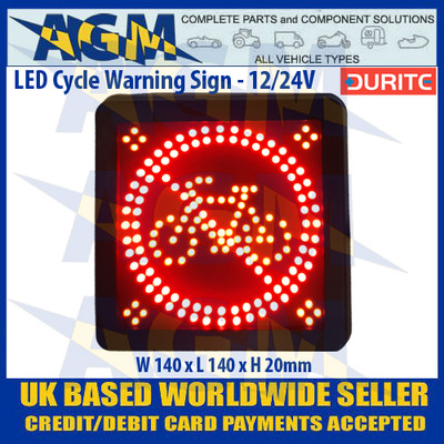 Durite 0-870-60  LED Cycle Warning Sign - 12/24v
