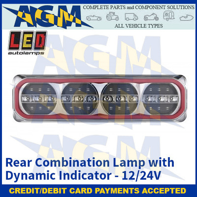 LED Autolamps 385FWARM Rear Combination Lamp with Dynamic Indicator - 12/24V