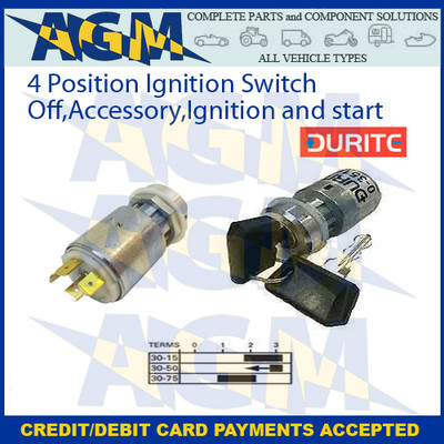 Durite 0-351-05 4 Position Ignition Switch  Off, Accessory, Ignition and Start