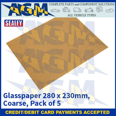 Sealey CGC Glasspaper 280 x 230mm - Coarse - Pack of 5