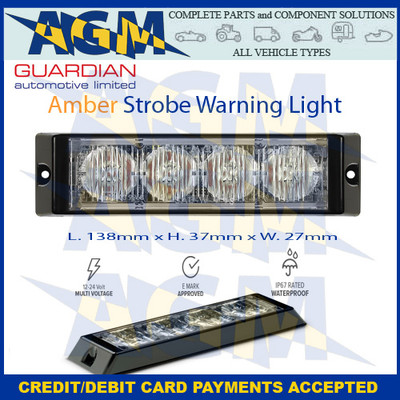 Guardian LED4A   4 Led Amber Warning Strobe  Light 12-24v