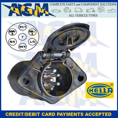 Hella 8JB008085-001, 7 Pin Plastic 24N Socket