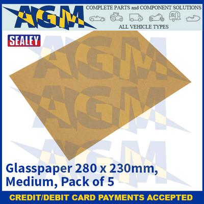 Sealey CGM Glasspaper 280 x 230mm - Medium - Pack of 5