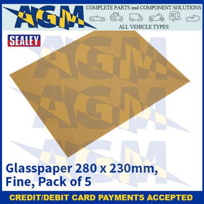 Sealey CGF Glasspaper 280 x 230mm - Fine - Pack of 5