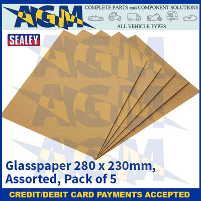 Sealey CGA Glasspaper 280 x 230mm - Assorted - Pack of 5