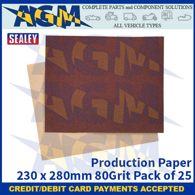 Sealey PP232880 Production Paper 230 x 280mm 80Grit Pack of 25