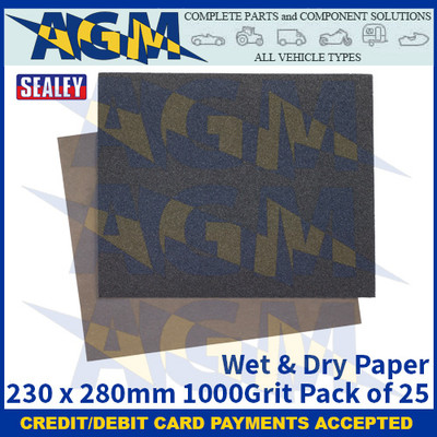 Sealey WD23281000 Wet & Dry Paper 230 x 280mm 1000Grit Pack of 25