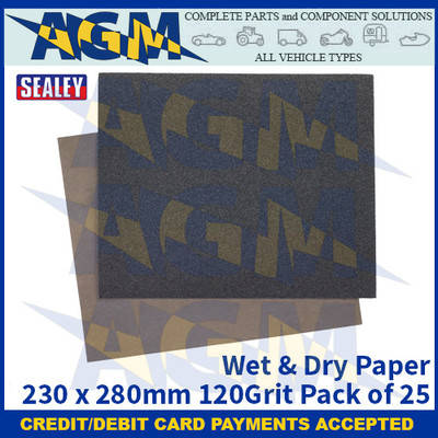 Sealey WD2328120 Wet & Dry Paper 230 x 280mm 120Grit Pack of 25