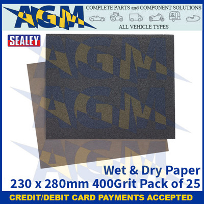 Sealey WD2328400 Wet & Dry Paper 230 x 280mm 400Grit Pack of 25