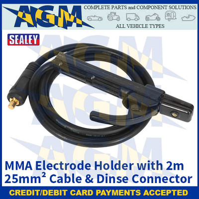 Sealey MMA01 MMA Electrode Holder with 2m 25mm² Cable & Dinse Connector