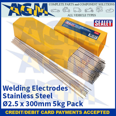 Sealey WESS5025 Welding Electrodes Stainless Steel Ø2.5 x 300mm 5kg Pack