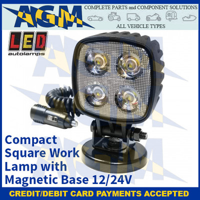 LED Autolamps 8112BM-MM Compact Square Work Lamp with Magnetic Base - 12/24V