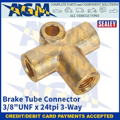 """Sealey BC38243WAY Brake Tube Connector 3/8""""UNF x 24tpi 3-Way"""