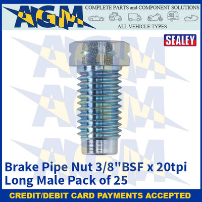 """Sealey BN3820LM Brake Pipe Nut 3/8""""BSF x 20tpi Long Male Pack of 25"""