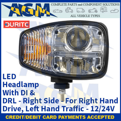Durite 0-422-20, LED Headlamp With DI & DRL - Right Side - For Right Hand Drive, Left Hand Traffic - 12/24V