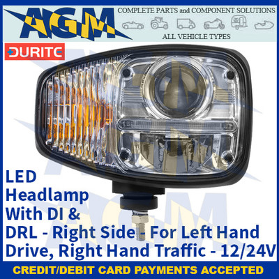 Durite 0-422-22, LED Headlamp With DI & DRL - Right Side - For Left Hand Drive, Right Hand Traffic - 12/24V