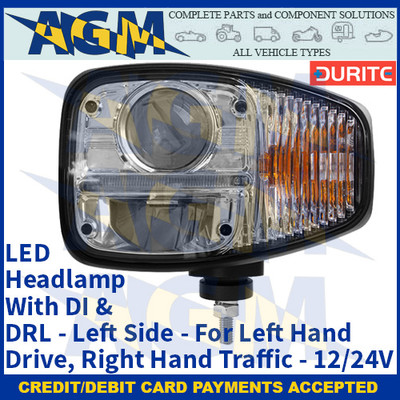 Durite 0-422-23, LED Headlamp With DI & DRL - Left Side - For Left Hand Drive, Right Hand Traffic - 12/24V