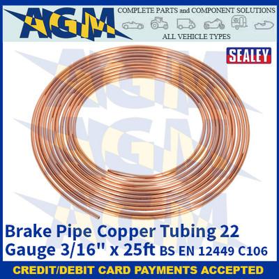 """Sealey CBP002 Brake Pipe Copper Tubing 22 Gauge 3/16"""" x 25ft BS EN 12449 C106"""