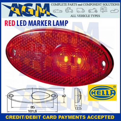 Hella Led Oval RED Marker Light Lamp  2TM 964 295-107 CLAAS HOBBYCAR PAGANI SOMMER
