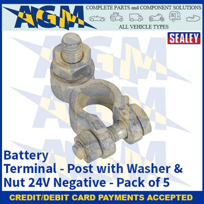 Sealey BTN26 Battery Terminal - Post with Washer & Nut 24V Negative Pack of 5
