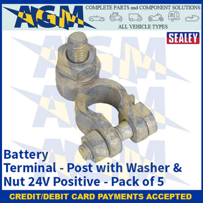 Sealey BTP25 Battery Terminal - Post with Washer & Nut 24V Positive Pack of 5