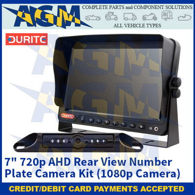 """Durite 0-774-73 7"""" 720p AHD Rear View Number Plate Camera Kit (1080p Camera) – 12/24V"""