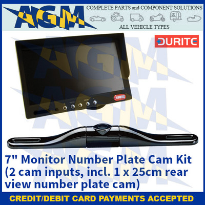 """Durite 0-775-17 7"""" Monitor Number Plate Cam Kit (2 cam inputs, incl. 1 x 25cm rear view number plate cam)"""