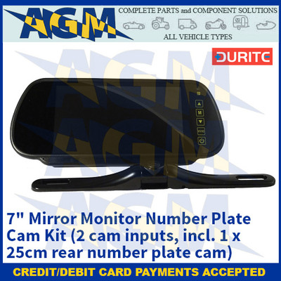 """Durite 0-775-27 7"""" Mirror Monitor Number Plate Cam Kit (2 cam inputs, incl. 1 x 25cm rear number plate cam)"""