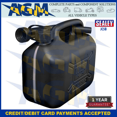 Sealey JC5B  Jerry Can  5 Litres Black Plastic Gerry Tin/Can