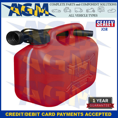 Sealey  JC5R Jerry Can  5 Litres Red Plastic Gerry Tin/Can