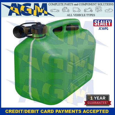 Sealey JC10PG  Jerry Can 10 Litres Green Plastic Gerry Tin/Can