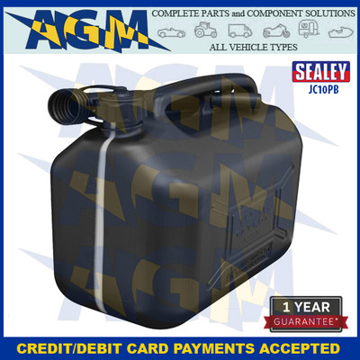 Sealey JC10PB  Jerry Can  10 Litres Black Plastic Gerry Tin/Can