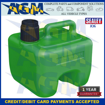 Sealey JC3G Stackable Jerry Can 3 Litres Green Plastic Gerry Tin/Can