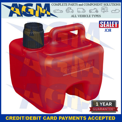 Sealey JC3R Stackable Jerry Can 3 Litres Red Plastic Gerry Tin/Can