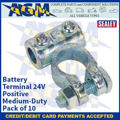 Sealey BTP3 Battery Terminal 24V Positive Medium-Duty Pack of 10