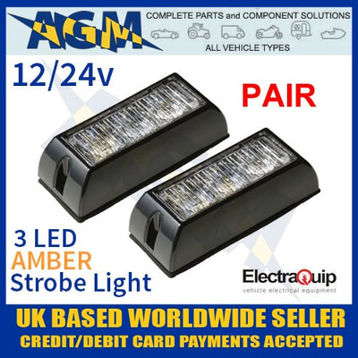 pair, led3dva, amber, led, strobe, light, multivolt, 12v, 24v