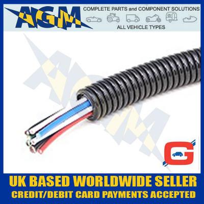 GUARDIAN GCT23 Convoluted Un-Split Black Nylon Tubing Trunking 28mm OD 10 Metre