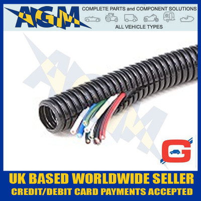 GUARDIAN GCS10 Convoluted Pre-Split Black Nylon Tubing Trunking 13mm OD 10 Metre