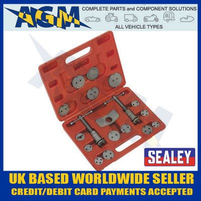 Sealey VS0282 Brake Caliper Piston Wind Back Tool Kit 18pc in Case