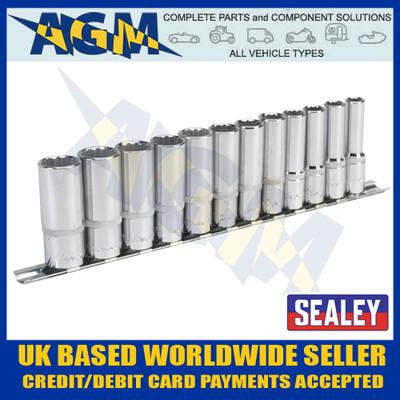 """Sealey AK2683 Socket Set 12pc 3/8""""sq Drive 12pt Deep Walldrive® Metric on Rail"""