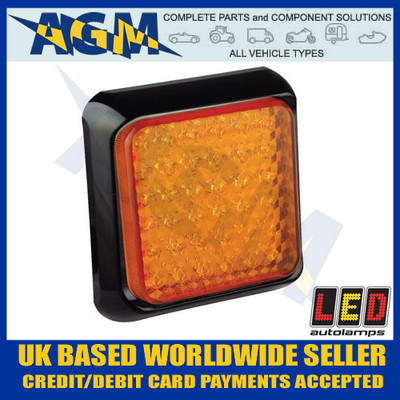 LED Autolamps Amber Indicator Signal Light/Lamp 100mm Square 80AME