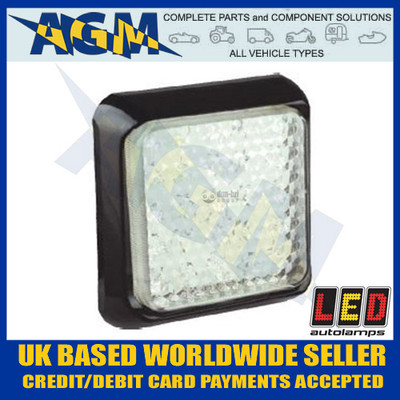 LED Autolamps White Reverse Light/Lamp 100mm Square 80WME Reversing 80WM