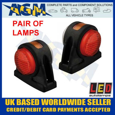 pair, led, 1005rwm, rubber, end, outline, side, marker, lamps, red, white, amber, 12v, 24v