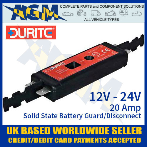 Durite 0-852-02, 12V/24V, 20A, Solid State Battery Guard and Disconnect