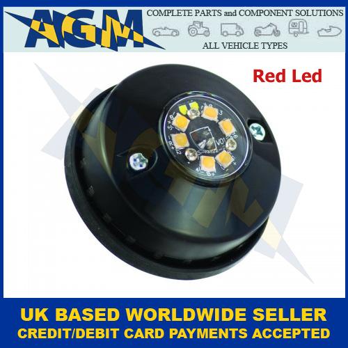 LED Autolamps LPR103DVR Low Profile 3-LED Warning Lamp 12//24V Red